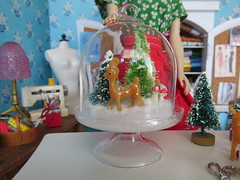 Ready for Christmas (Foxy Belle) Tags: dollhouse miniature doll craft room christmas project bottlebrush tree make diy 16 diorama playscale barbie vintage ponytail 3 apron red