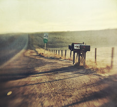 easy to see (jssteak) Tags: canon t1i lensbaby morning sunrise rural roadmailbox fence shadow aged shadows