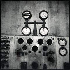 pressure gauges (lawatt) Tags: pressure gauges machinery factory djupavik árneshreppur iceland film polaroid 667 hasselblad 120mm