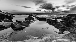 Rocky Daybreak Seascape in Black and White