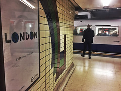Everyone Welcome (Douguerreotype) Tags: london people subway metro tube uk underground urban british train city tunnel poster britain iphone gb england
