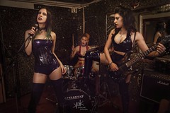Latex Rock Band: with Angelika Darkling's Latex clothes! by SpirosK photography (SpirosK photography) Tags: ailiroy guitar guitarist music musician latex latexclothes latexfashion portrait fetish sfw studio rock band rockband latexrockband spiroskphotography angelikadarkling femaleguitarist femaledrummer femalesinger singer vocalist drummer musicians