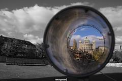 Fernrohre, Bundeshaus (MarcoAgustoniPhotography) Tags: fernrohre bundeshaus bern selective color blackwhite tube rohre