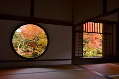 famous two windows (snowshoe hare*) Tags: 源光庵 悟りの窓 迷いの窓 dsc0190 windows window temple kyoto genkoantemple windowofenlightenment windowofconfusion fallfoliage autumnfoliage fall autumn reflections 秋 紅葉 zen buddhism 鷹峯 京都