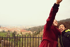 But first let me take a... (catarinae) Tags: but first let me take two women portrait prague czech republic travel friends view red coat italian mexican