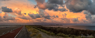 Panorama opposite the sunset