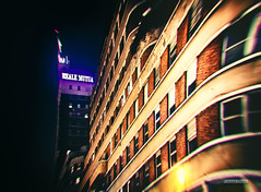 Altered night (alessiochiolo) Tags: night notte light city cityview città torino turin cool skyscraper buildings building beauty architecture art artwork artistic architettura arcs windows street view color lights italy italian italia lines line distorted filter 3d altered nikon