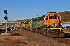 "Southbound Transfer in Kansas City, MO (""Righteous"" Grant G.) Tags: bnsf railway railroad atsf bn locomotive emd power train trains transfer freight kansas city missouri"
