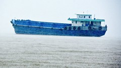 Downpour:  Blue Cargo Boat, Mekong River (Ginger H Robinson) Tags: downpour heavy rainfall water droplet wet muddy blue cargo boat mekongriver bentre province southern vietnam southeastasia autumn