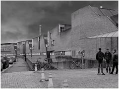 University Jules Verne, Amiens. (michelle@c) Tags: urban architecture contemporan cityscape university julesverne building facade wall brick pavement bridge student men bike river somme old housing factory mill district saintleu 2017 amiens bw michellecourteau