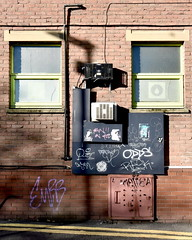 odds and ends (Harry Halibut) Tags: 2017©andrewpettigrew allrightsreserved imagesofsheffield images sheffieldarchitecture sheffieldbuildings colourbysoftwarelaziness south yorkshire sheff1710274580 westhill lane building red brick windows air conditioning units blackboard door yellow lines no parking