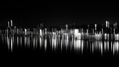 night abstract (Darek Drapala) Tags: night abstract reflection reflects river riverside city urban panasonic poland polska panasonicg5 lumix light bw blackwhite blackandwhite buildings