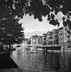 River Aire, Leeds expired HP5+. (Tony Joness) Tags: analogue analog bw bnw blackandwhite blackwhite camera develop developer dxophotolab dxo epson epsonscanner england fomafix hp5plus hp5 ilfordhp5plus ilford leeds monochrome mono mediumformat square rodinal rollfilm river scanner scan tlr uk v550 yorkshire yashicamat yashica 6x6 120 expiredfilm
