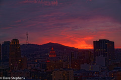 Sunset From Our San Francisco Hotel Room (dcstep) Tags: sunset red sanfrancisco california usa sonya9 sonyfe2470mmf28gm allrightsreserved copyright2017davidcstephens dxophotolab cityhall tower dsc6063dxo sutro sutrotower