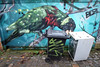 Behind the Bins (weirdoldhattie) Tags: bristol stokescroft pictonlane urban bins bin graffiti streetart art bird washingmachine lane alley alleyway
