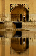 BEFORE - Reflection - Si-o-Seh Pol Bridge, Esfahan, Iran (robinlawrenceoien) Tags: esfahan iran man reflection sunset evening travel holiday emotion before iranian bridge