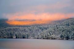 Winter Light Magic (bjorbrei) Tags: lake water shore hill hillside forest trees spruces evening sunset snow winter maridalen maridalsvannet oslo marka lillomarka norway clouds