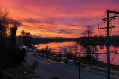Each sunrise is different. (rog45) Tags: rog45 canada bc mapleridge porthaney canon 40d f42470 fraserriver mtbaker sky skyfire sunrise