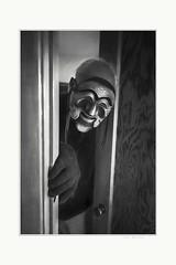 Where are you (Krasne oci) Tags: man mask scary bw monochrome drama evabartos artphotography photographicart