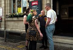 skinheads (streetstory (is away)) Tags: blackpool england 2017 streetphotography rebellionfestival skinheads youthculture tattoos ink cedartavern braces thwaitesbeer leopardskindress