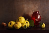 The Sky Was Full Of Mysteries (panga_ua) Tags: theskywasfullofmysteries autumn fall quinces fruit october redglassjug shell metallicplate yellow shape greenleave arrangement art artandcraftproduct composition horizontal indoors nopeople stilllife photography table colorimage foodanddrink dark freshness ukraine woodmaterial quince