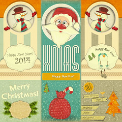 Old Christmas New Years card (everythingisfivedollar) Tags: christmas card claus snowman santa vector celebration holiday decoration cartoon illustration greeting design fun traditional smiling winter season humor cute backgrounds december invitation style year new cardboard placard backdrop message pattern christmascard xmascard retropattern retrodesign carddesign christmastree socks newyear