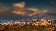 Sunset with lenticular clouds (vegard.magnus) Tags: lenticular clouds belledonne snow sunset winter landscape gm1 lumix sky ciel grésivaudan grenoble fly sailplane gliding soaring micro four thirds 43 fourthirds