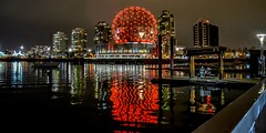Geodesic glow (Christie : Colour & Light Collection) Tags: geodesicdome golfball remembranceday red expo expo86 expo86worldsfaircentre dome worldsfair telusworldofscience 1986 vancouver bc canada falsecreek reflections evening nightphotography history vancouverhistory veteransday veterans fair britishcolumbia busstop canadianhistory