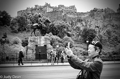 I hope he looked to his right! (judy dean) Tags: judydean 2017 edinburgh blackandwhite mono street man camera castle princesstreet