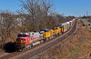 """Westbound Auto Train in Pleasant Hill, MO (""""Righteous"""" Grant G.) Tags: atsf santa fe bnsf up union pacific railroad railway west westbound missouri auto manifest kansas city"""
