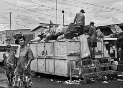 Clearing Up (Beegee49) Tags: rubbish skip dirt street men cleaning bacolod city philippines