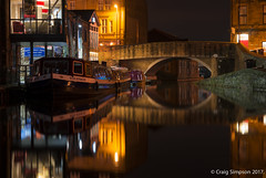 The Dalesman, Skipton. 1st December 2017. (craigdouglassimpson) Tags: narrowboats barges bridges reflections water nightscenes leedsliverpoolcanal skipton yorkshire england