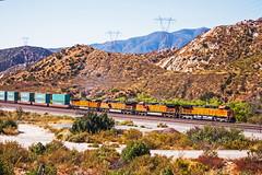 BNSF 5180+4820+5016+8213 with an eastbound intermodal ascending to Cajon. 16September2011 (mikul44171) Tags: 5180 cajon intermodal containers boxes