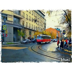 03-10-2016 (Miley S) Tags: moscow autumn fall street vinci filter tram russia painting ilovetrams railway