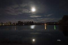 Almost Supermoon - Explore December 10, 2017 (teresayvonne) Tags: lake moon water moonlight reflection sky night