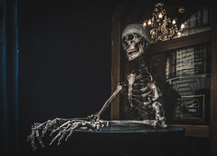 Shop keeper (mirri_inc) Tags: prague europe shop guard skeleton dark absinth mystery mood entrance travel skull