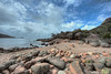 Sleepy Bay (Daniel J. Mueller) Tags: australia tasmania freycinet nationalpark bay rocks cave sea water tree trees bush sky clouds hdr