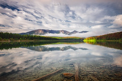 Patricia in the Mirror (Ramón M. Covelo) Tags: patricia lake canada jasper national park rocky mountains canadian rockies reflection sunrise horizontal landscape