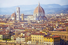 (marozn) Tags: beautiful florence view travel santa antique old architecture city tower roof romantic traditional church religion mountains italy scenic cityscape landmark town famous ancient dome cathedral historic houses medieval basilica fiore firenze italia maria renaissance tuscany christianity destination duomo croce ladies del giotto renessans bella panorama panoramic background people tourism sunny