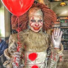 Toronto Ontario - Canada - A customer at Starbucks - Halloween  Costume (Onasill ~ Bill Badzo) Tags: portrait funny halloween onasill starbucks hair fashion design red iphone 6s apple osi toronto canada ont downtown town tourist travel visit clown scary scream java coffee