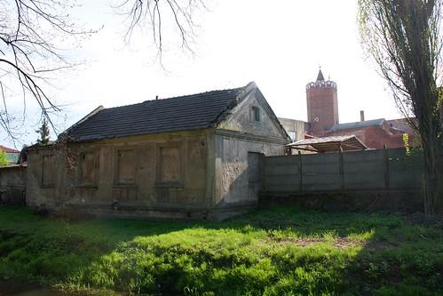 Zabudowania przy Sienkiewicza w Łęczycy od strony starego koryta Bzury