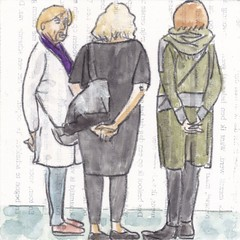 # 201 2017-11-13 (h e r m a n) Tags: herman illustratie tekening 10x10cm tegeltje drawing illustration karton carton cardboard kunst art drievrouwen threewomen museumvisitor museumbezoeker museum gemeentemuseum denhaag gesprek conversation