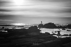 The lifeguard (RuiFAFerreira) Tags: bw black white wide waterscape dog fisherman portugal canon