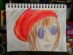 """The Girl in the Red Hat"" (BKHagar *Kim*) Tags: bkhagar art artwork artday painting paint girl hat red glasses purple sketch 2minutesketch watercolor watercolour notebook"
