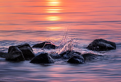 sunset splash at the end of a long, grey day (marianna_a.) Tags: sunset splash rocks water motion action composite stbernard quebec mariannaarmata