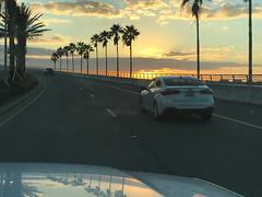 Sarasota Sunrise (soniaadammurray - Off) Tags: iphone driving road cars reflections trees sky sun clouds sunset sarasota florida usa nature fence quartasunset
