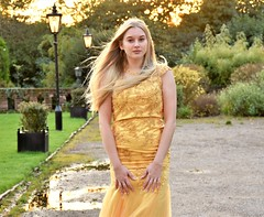 Golden Girl, golden hour. (pstone646) Tags: youngwoman younglady beauty blonde portrait pretty people sunset outdoors outside dress reflections sunlight sundaylights