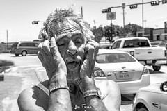Hoyt-9177 (~La Force~) Tags: d7100 nikon street begging panhandler homeless wifebeater drunk crazy mental hopeless candid dallas dfw frustrated despair laughing smiling