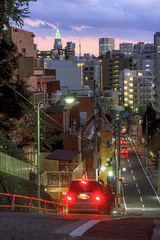 Sloping Road (B Lucava) Tags: tokyo shinjuku twilight dusk skyline slope docomo tower