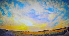 Sunset sky on Sunflowers garden Multi Colored Rough Textured  Outdoors No People Nature Day Beauty In Nature oil painting Fukuoka Sunset Nature Panoramic Agriculture Field Freshness flowers (yoshihiroabe) Tags: multicolored rough textured outdoors nopeople nature day beautyinnature fukuoka sunset panoramic agriculture field freshnessbrushstroke
